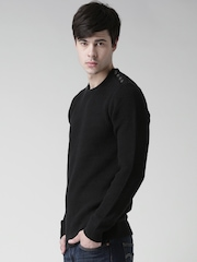 BLEND Men Black Patterned Sweater
