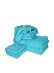 Tomatillo Set of 12 Blue Cotton Towels