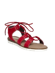Catwalk Women Red Solid Open-Toed Flats