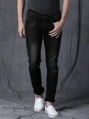 WROGN Men Black Slim Fit Mid-Rise Clean Look Jeans