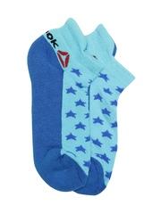 Reebok Women Blue INSD GRP Star Patterned Ankle-Length Training Socks