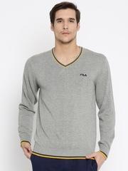 FILA Men Grey Solid Sweater