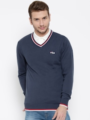 FILA Men Blue Solid Sweater