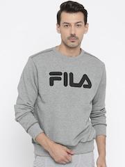 FILA Men Grey Melange Printed Sweatshirt