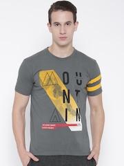 FILA Men Grey Beacon Printed Round Neck T-shirt