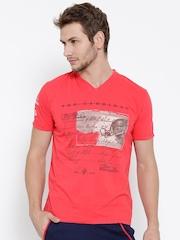 FILA Men Coral Pink Cardinal Printed V-Neck T-shirt