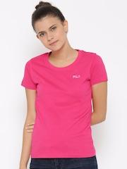 FILA Women Pink NIKO Solid Round Neck T-shirt
