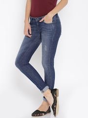 Lee Women Blue Mid-Rise Mildly Distressed Jeans