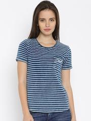 Lee Women Blue Striped T-Shirt