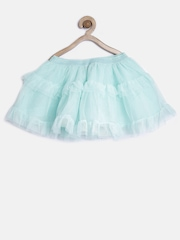 The Childrens Place Girls Mint Green Net Shimmer Tiered Flared Skirt