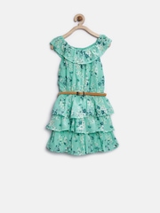 The Childrens Place Girls Sea Green Printed Fit & Flare Dress