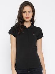 Park Avenue Women Black Solid Polo T-shirt