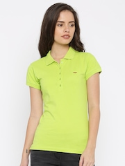 Park Avenue Women Lime Green Solid Polo T-shirt