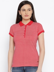 Park Avenue Women Red Printed Polo T-Shirt