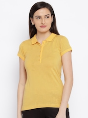 Park Avenue Women Yellow Printed Polo T-Shirt