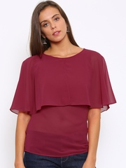 Park Avenue Women Magenta Layered Solid Top