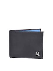 United Colors of Benetton Men Black Genuine Leather Wallet