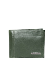 United Colors of Benetton Men Olive Green Genuine Leather Wallet