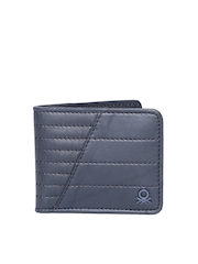 United Colors of Benetton Men Navy Quilted Genuine Leather Wallet
