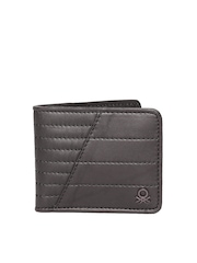 United Colors of Benetton Men Brown Quilted Genuine Leather Wallet