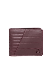 United Colors of Benetton Men Burgundy Quilted Genuine Leather Wallet