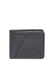 United Colors of Benetton Men Black Quilted Genuine Leather Wallet
