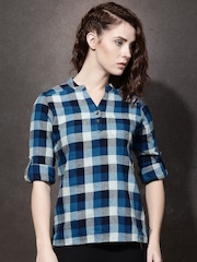 Roadster Women Teal & Grey Checked Shirt Style Top