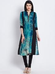 Shree Women Blue & Black Printed Panelled Kurta