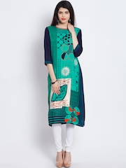 Shree Women Green & Navy Printed Straight Kurta