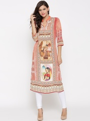 Shree Women Peach-Coloured & Beige Printed Straight Kurta