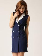QUIZ Women Navy Solid Overlapping Sheath Dress