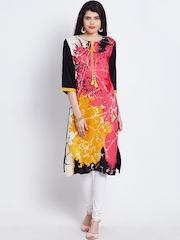 Shree Women Pink & Black Printed Kurta