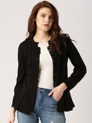 All About You by Deepika Padukone Black Peplum Jacket with Lace Trims