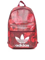Adidas Originals Women Maroon & Red BP CLASSIC Floral Print Snakeskin Textured Backpack