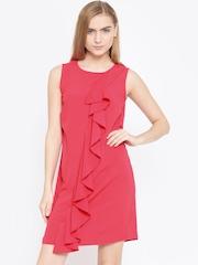 Vero Moda Women Coral Pink Solid A-Line Dress