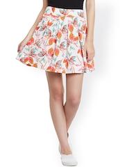 STREET 9 White Floral Print Polyester Flared Skirt