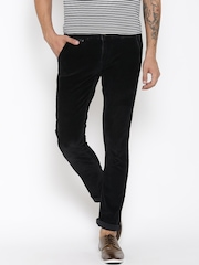 United Colors of Benetton Men Black Solid Slim Fit Corduroy Trousers