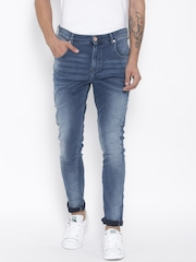 United Colors of Benetton Men Blue Carrot Fit Mid-Rise Clean Look Jeans