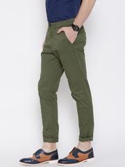 Jack & Jones Men Olive Green Solid Slim Fit Chino Trousers