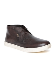 Red Tape Men Coffee Brown Leather Mid-Top Derby Shoes