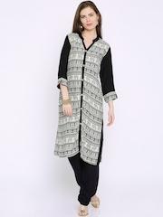 Soch Black & White Printed Chanderi Kurta with Trousers