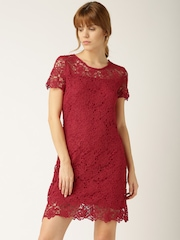 DressBerry Women Red Lace A-line Dress