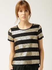 DressBerry Women Black & Gold-Toned Sequinned Lace Top