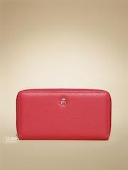 AIGNER Women Red Basics Neat Leather Zip-Around Wallet