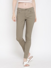 FOREVER 21 Women Beige Mid-Rise Clean Look Jeans