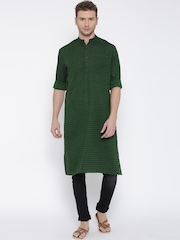 indus route by Pantaloons Men Green Woven Design Straight Kurta