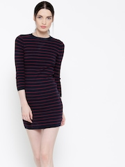 FOREVER 21 Women Navy Blue Striped Bodycon Dress