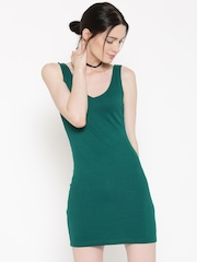 FOREVER 21 Women Green Solid Bodycon Dress
