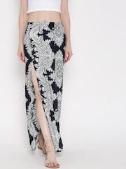 FOREVER 21 Navy & White Printed High-Slit Maxi Skirt