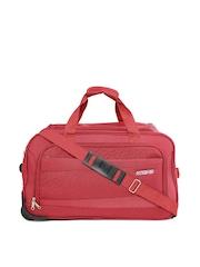 AMERICAN TOURISTER Unisex Red Textured Amt Pep Medium Trolley Duffel Bag